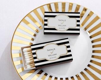Set of 50 Wedding Matches - Classic Matchbox Wedding Favors - Black & White Striped Design, Personalized Matchbox Wedding Favors (28257-CL)