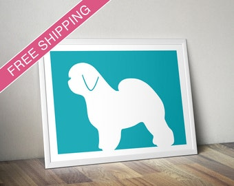 Old English Sheepdog Print - Old English Sheepdog Silhouette - dog art, dog gift