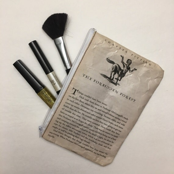 Harry Potter Book Themed Vinyl Pencil or Make-Up Pouch - The Forbidden Forest