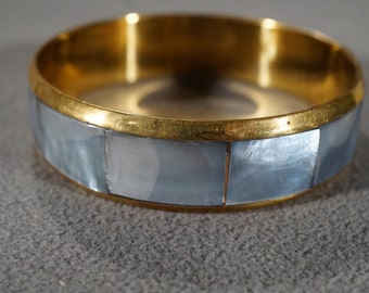 Vintage Art Deco Style Brass Round Mother of Pearl Bangle Bracelet Jewelry   KW46