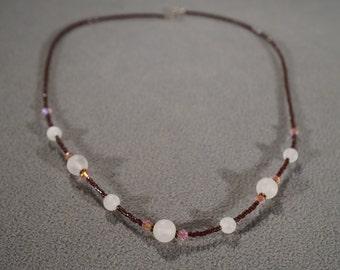 Vintage Art Deco Style Silver Tone Glass Beads Round Pink Jet Black Necklace Jewelry -K#14