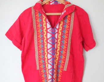 vintage bohemian red embroidered tunic top with pockets