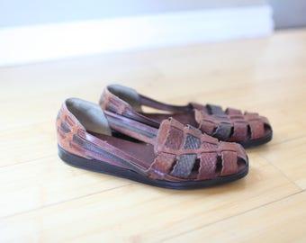 vintage woven rainbow brown leather hurache sandals womens 7 1/2