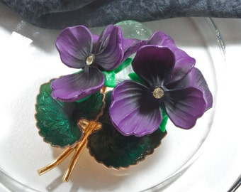 Vintage brooch Purple Violets, 50s, 60s years