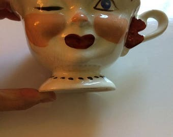 Antique Staffordshire England Lipton Promo Winking Lady Face  Tea Cup