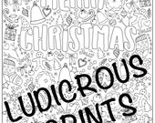 Christmas Colouring Page, Coloring for Adults, Xmas Coloring In, Crimbo Colouring, Grown ups Coloring page, Merry Christmas, Tis the season