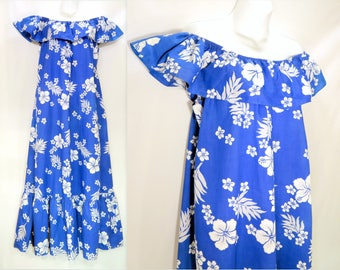 70s Vintage HELENA'S Hawaiian Maxi Dress. Vibrant Blue & White Hibiscus Flowers Off-Shoulder Ruffled Aloha Gown. Made in Hawaii, USA Size ML