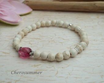 Bracelet Ceramic Tourmaline white pink