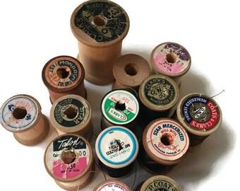 Set of Vintage 12 Wooden Spools and 2 Plastic Spools