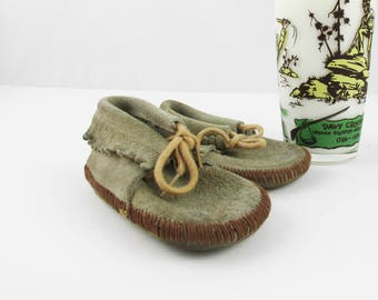 """Vintage Pair of Suede Moccasin Shoes - Toddler Shoes - Soft and Wearable - 5"""" Heel to Toe - Fringed Tan Moccasins  With Brown Stitching"""