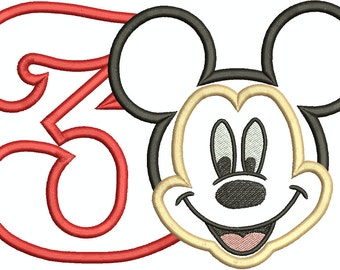Character Inspired Mickey Mouse Face with a Number 3 Applique,3rd Birthday Mickey Machine Embroidery Design 246