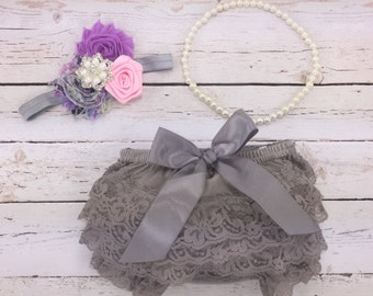 3 pc SET- Light pink/ Violet  / gray Baby Girl Bloomer - Lace Baby Bloomer / headband / pearl necklace