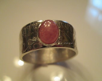 Silver Coin Ring with 6x8 mm Oval Rhodocrosite Cabochon Stone