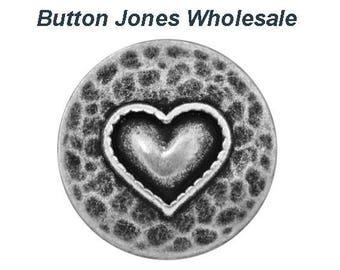 50 pcs. Heartfelt 11/16 inch (18 mm) ) Metal Button Antique Silver Color