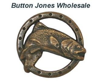 50 pcs. Trout Fish 5/8 inch ( 17 mm ) Metal Buttons Antique Brass Color