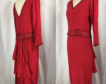 Vintage 1980's Red Beaded Dress w/Layered Ruffles