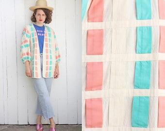 Vintage 80s Jacket   80s Woven Cotton Oversized Multicolor Open Jacket   One Size