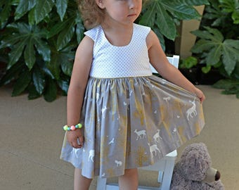 Special occasion tea Party dress with gold metallic trim size 3