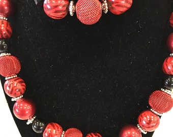 DBC custom red animal print beaded necklace and bracelet set