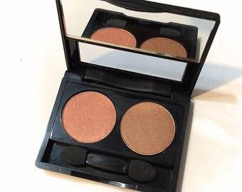 ORGANIC EYESHADOW DUO Tigress & Lucky Penny Pressed Mineral Eyeshadow -Gluten Free Vegan Plant Makeup