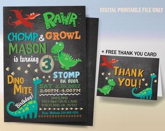 Dinosaur Invitation, Dinosaur Birthday Invitation, Dinosaur Invitations, Dinosaur Party, T-Rex Invitations