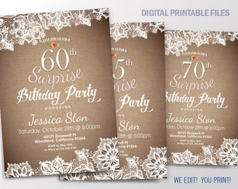 Surprise Birthday Invitation. Burlap and Lace Birthday for 40th, 50th, 60th, 70th, 80th, or 90th. Printable Digital DIY Card