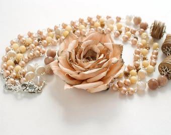 Handmade necklace long Dusty Peach