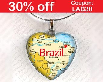 Brazil Map Pendant, Brazil Necklace, Brazil Jewelry, Charm, Gift, Heart, Map Necklace, Travel, Map Jewelry, World Traveler, Brasilia, Home