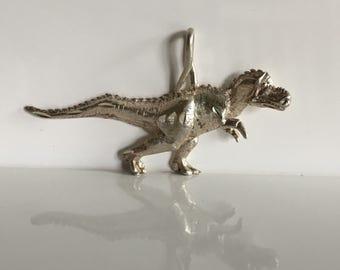 SALE!!!  Vintage Sterling Silver T-Rex Pendant Charm
