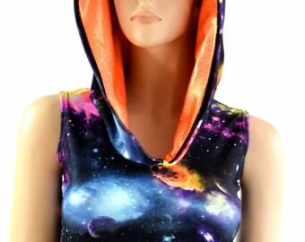 UV Glow Glalaxy Sleeveless Crop Hoodie w/Orange Sparkly Jewel Hood Liner Rave Festival Clubwear - 154166