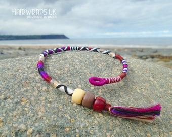 Tribal Hair Wrap, Red Indian Hair braid, Boho Hair Wrap, Hippy Braid, Hair Jewellery, Braid with beads, Purple and Brown pattern, INDULGENCE