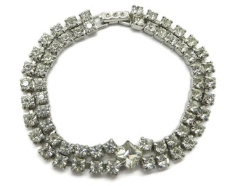 Vintage Rhinestone Tennis Bracelet | Signed Kramer Jewelry | Double Row Rhinestone | Bridal Jewelry