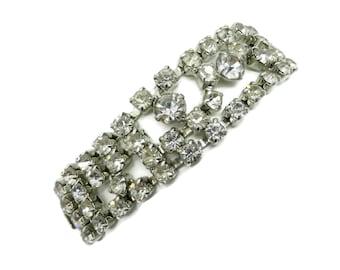 Signed KRAMER Rhinestone Bracelet | Vintage Multi-Row Crystal Rhinestone Link Bracelet | Bridal Jewelry