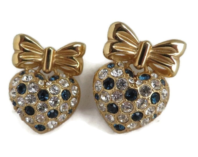 Vintage Blue and White Rhinestone Heart Earrings, Gold Tone Bow and Heart Pierced Studs
