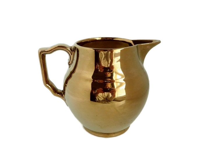Gray's Pottery Creamer, Vintage Gold Lustre Ware Pitcher, Hand Painted British Pottery