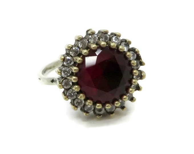 Ruby Topaz Cocktail Ring, Vintage Sterling Silver Faux Gemstone Ring, Size 7