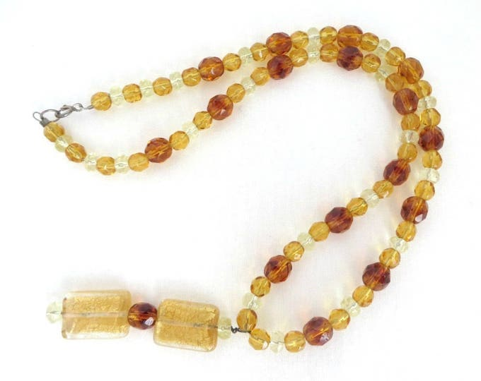 Amber Glass Necklace Vintage Pendant Necklace, Amber, Gold and Clear Bead Boho Jewelry