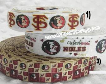 3 yards FSU Florida State Seminoles - 1 inch or 7/8 inch -CHOOSE DESIGN - Printed Grosgrain Ribbon