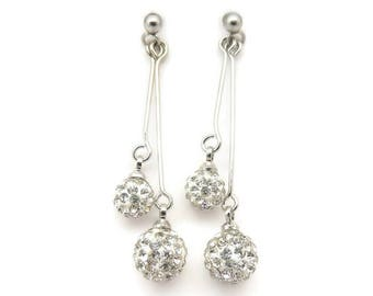 Pave Set Glass Rhinestone Dangle Invisible Clip On Earrings for Non-Pierced Ears Silver-Tone