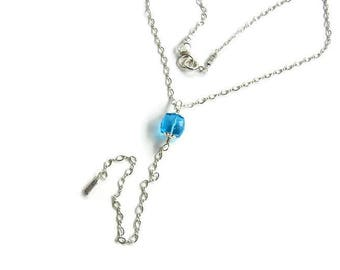 Silver lariat necklace Long lariat Silver blue necklace Long Y necklace Minimal Y lariat Chain lariat Sky blue necklace Modern choker lariat