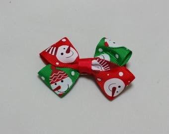 1 pieces,Grosgrain Bows, 3 inch, Christmas Snowman, boutique hair bows,hair clips,girls hair bows, newborns,infants,toddlers,kids