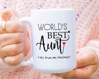"""Funny Gift for aunt """"World's best aunt"""" coffee mug, aunt gifts, auntie gifts, aunt wedding gift, aunt birthday, presents for aunts MU589"""