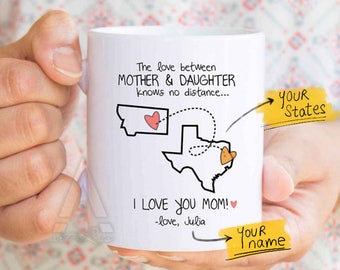 mom state mug, mom distance, mom personalized, mom tea cup, mom from daughter, long distance gift, distance quote mug, distance family MU314