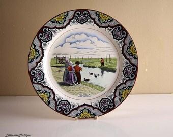 Vintage Societe Ceramique Maesrtricht Made in Holland 'Volendam.Eendjes Voeren' Decorative Dutch Rural Scene Retro  Wall Hanging Plate