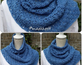 Warm and cosy col/ponchette/shoulderwarmer in skyblue, handmade crochet,one of a kind piece