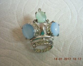 Sterling Crown Brooch - Side Moonstones 12mm x 10mm mint condition