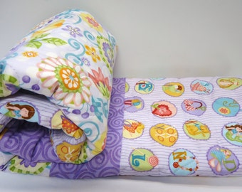 Lavender Baby Girl Quilt-Floral-Alphabet-Flowers-Sweet Baby Blanket-DIY Baby Quilt Kit