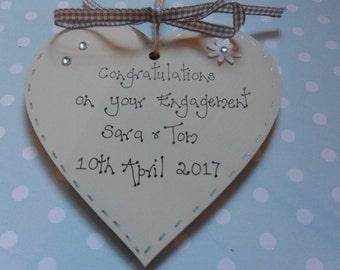 Personalised engagement wooden heart keepsake gift 10cm