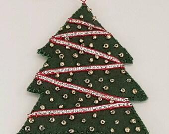 SALE Felt Christmas tree decoration, decorated 11cm tall tree, ornament.