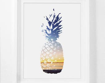 Pineapple Print, Pineapple Art, 8x10 Print, 11x14 Art, Pineapple Art Print, Pineapple Decor Wall Print, Printable Art, 5x7 Print, 4x6